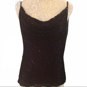 New Year's Eve Black & Burgundy Beaded Camisole